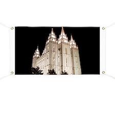 Salt Lake Temple Lit Up at Night Banner