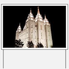 Salt Lake Temple Lit Up at Night Yard Sign