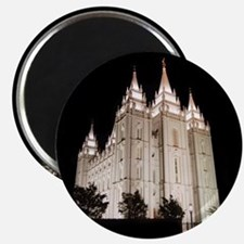 Salt Lake Temple Lit Up at Night Magnets