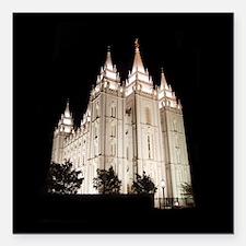 Salt Lake Temple Lit Up at Night Square Car Magnet