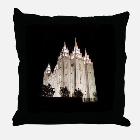 Salt Lake Temple Lit Up at Night Throw Pillow