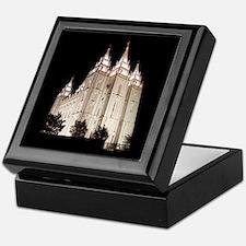 Salt Lake Temple Lit Up at Night Keepsake Box