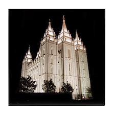Salt Lake Temple Lit Up at Night Tile Coaster