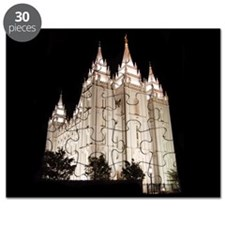 Salt Lake Temple Lit Up at Night Puzzle