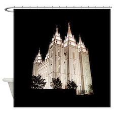 Salt Lake Temple Lit Up at Night Shower Curtain