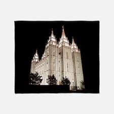 Salt Lake Temple Lit Up at Night Throw Blanket