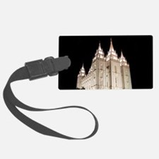 Salt Lake Temple Lit Up at Night Luggage Tag