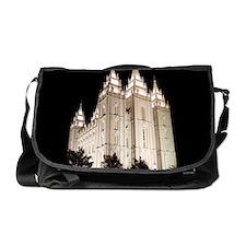 Salt Lake Temple Lit Up at Night Messenger Bag