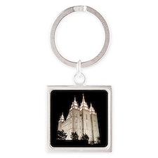 Salt Lake Temple Lit Up at Night Keychains