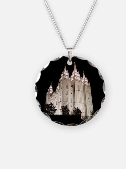 Salt Lake Temple Lit Up at Night Necklace
