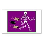 Pug-o-ween Bones Rectangle Sticker