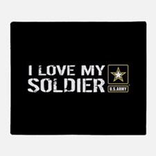 U.S. Army: I Love My Soldier (Black) Throw Blanket