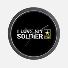 U.S. Army: I Love My Soldier (Black) Wall Clock