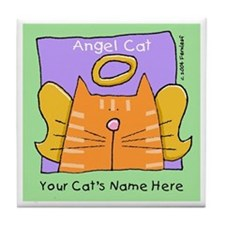 Personalized Tabby Cat Memorial Tile Coaster