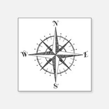 "Compass Rose Square Sticker 3"" x 3"""