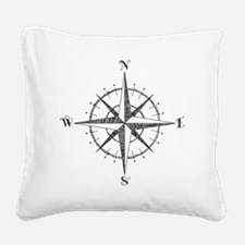 Compass Rose Square Canvas Pillow