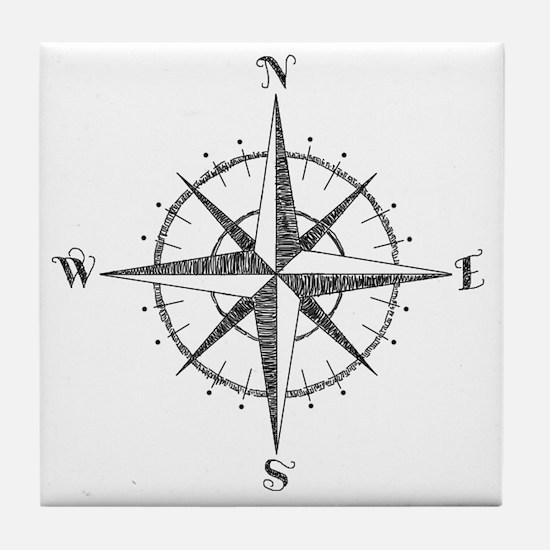Compass Rose Tile Coaster