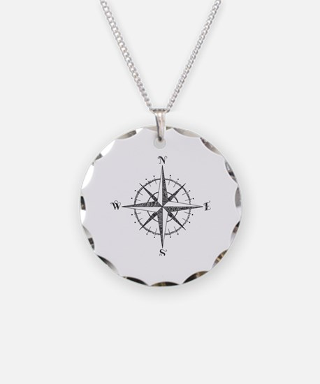 Compass Rose Necklace Circle Charm