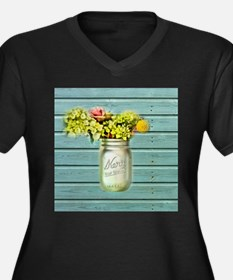 country mason jar flower Plus Size T-Shirt
