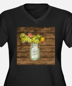 country mason jar wild flower Plus Size T-Shirt
