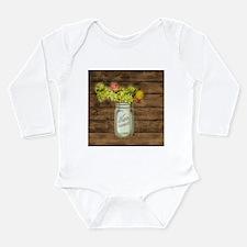 country mason jar wild flower Body Suit