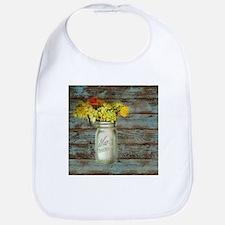 western country mason jar flower Bib