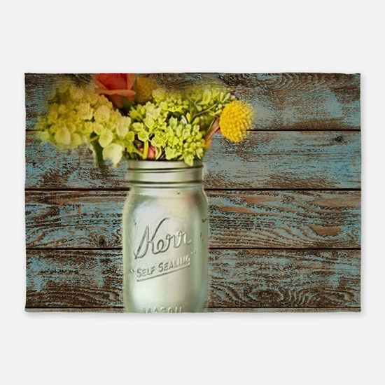 western country mason jar flower 5'x7'Area Rug