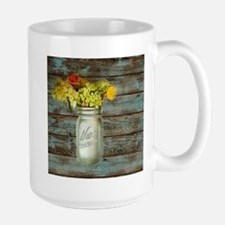 western country mason jar flower Mugs
