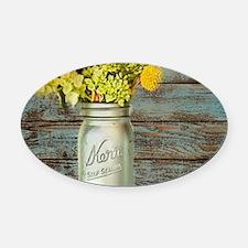 western country mason jar flower Oval Car Magnet
