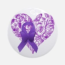 Purple Awareness Ribbon with Roses Round Ornament