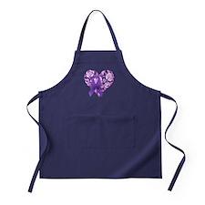 Purple Awareness Ribbon with Roses Apron (dark)