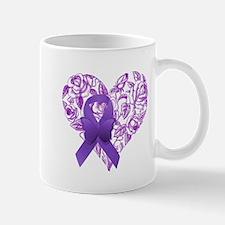 Purple Awareness Ribbon with Roses Mugs