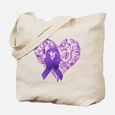 Purple Awareness Ribbon with Roses Tote Bag