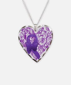 Purple Awareness Ribbon with Roses Necklace