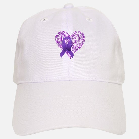Purple Awareness Ribbon with Roses Baseball Baseball Baseball Cap