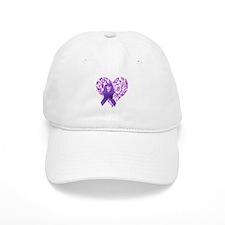 Purple Awareness Ribbon with Roses Baseball Baseball Cap