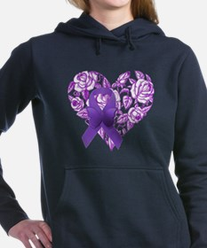 Purple Awareness Ribbon with Roses Women's Hooded
