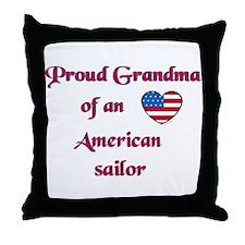 Proud Grandma/American Sailor Throw Pillow