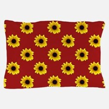 Pretty Sunflower Pattern with Red Back Pillow Case