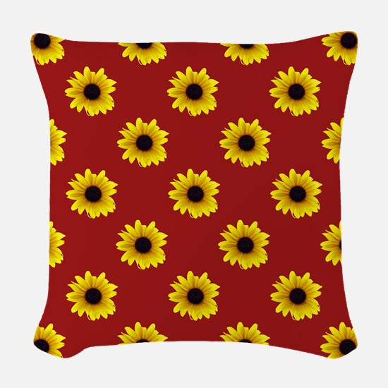 Pretty Sunflower Pattern with Woven Throw Pillow