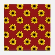 Pretty Sunflower Pattern with Red Bac Tile Coaster