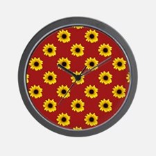 Pretty Sunflower Pattern with Red Backg Wall Clock