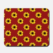 Pretty Sunflower Pattern with Red Backgr Mousepad