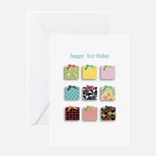 Happy Birthday present box design Greeting Cards