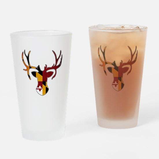 Maryland Flag Deer Drinking Glass