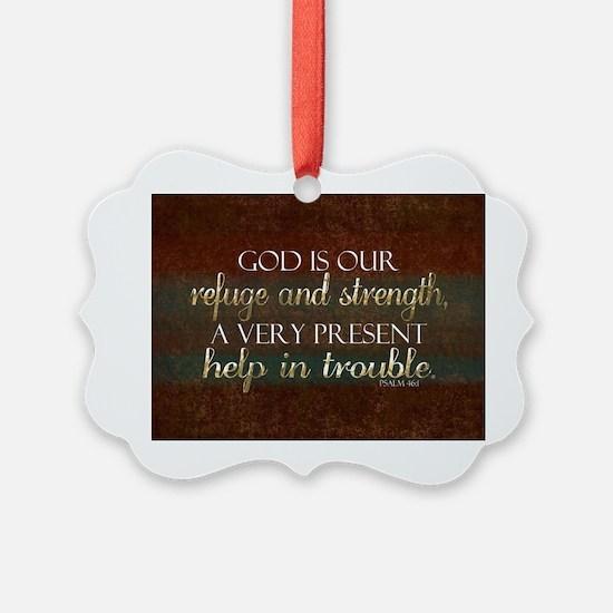 God is our Refuge Bible Scripture Ornament