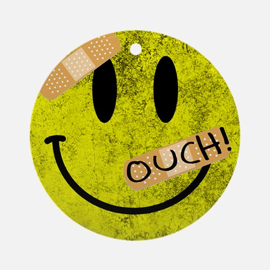OUCH ADHESIVE TAPES SMILEY FACE Round Ornament
