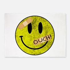 OUCH ADHESIVE TAPES SMILEY FACE 5'x7'Area Rug
