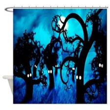 Spooky Trees Eyes Blue Silhouette - Shower Curtain