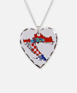 Flag Map of Croatia Necklace